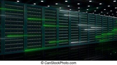 asseoir, isp, salle, 4k, appareil photo, mouvements, chariot, panneaux, coup, serveurs, ou, derrière, données, serveur, centre, verre, incliné, puissant