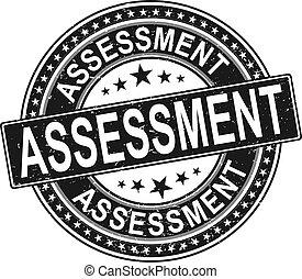 assessment., grunge, autocollant, évaluation, cachet, rond, ruban, timbre, signe, vendange