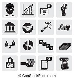 assets-, ceci, cartes, représenter, &, business, money(cash), graphic., création, richesse, compte, icons(signs), apparenté, vecteur, banque, investissements, richesse, banque, argent économie, illustration, aussi, boîte, économies