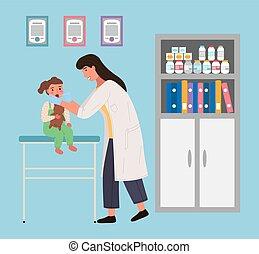 assied, oral, child., teddy, bébé, examine, docteur, cavité, bear., s, patient, pédiatre