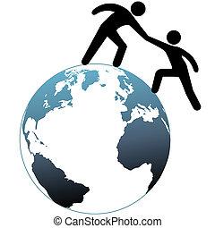 assistant, sommet, portée, haut, aides, mondiale, ami, dehors