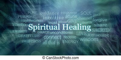 associé, mots, mot, guérison, spirituel, nuage