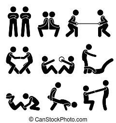 associé, séance entraînement, exercice