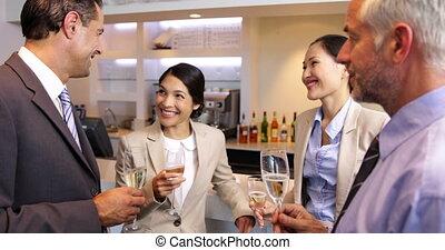 associés, business, travail, après, célébrer