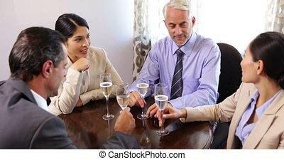associés, vin, boire, business
