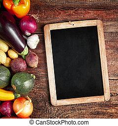 assorti, vendange, légumes, automne, frais, ardoise