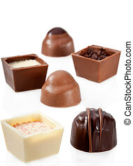 assortiment, chocolat, fond, blanc, bonbon
