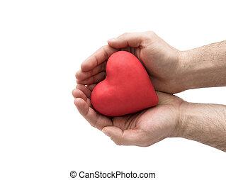 assurance, coeur, concept, amour, homme, santé, hands., ou, rouges