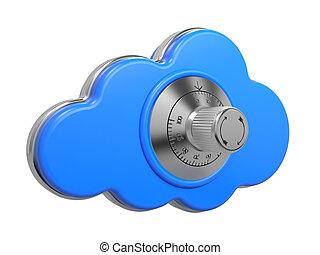 assurer, concept., sûr, lock., nuage, 3d