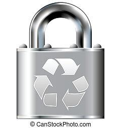 assurer, symbole, serrure, recyclage