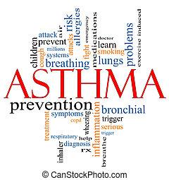 asthme, concept, mot, nuage