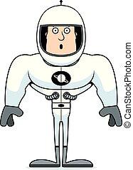 astronaute, dessin animé, surpris