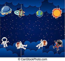 astronaute, espace, gabarit