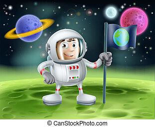 astronaute, extérieur, dessin animé, espace