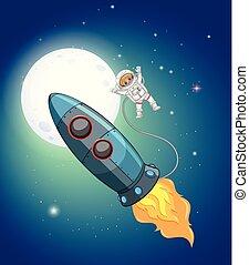 astronaute, fusée espace