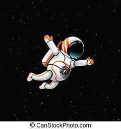 astronaute, profond, espace