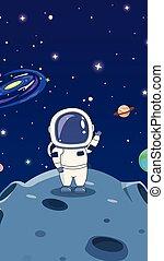 astronautes, espace, planètes, explorer