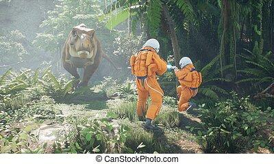 astronautes, rendering., deux, réunion, park., time-traveler, avide, préhistorique, jurassique, 3d, rex, tyrannosaurus