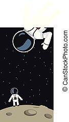 astronautes, surface, lune