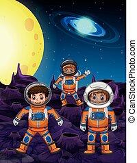astronautes, trois, surface, lune