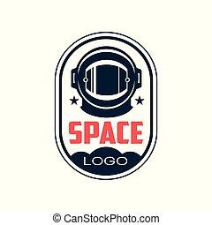 astronaut's, résumé, autocollant, logo, élément, style., bleu, casque, sill., espace, badge., mission., plat, protecteur, emblème, t-shirt, impression, sombre, graphique, contour, pièce, vecteur, ou