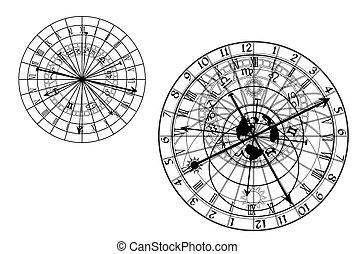 astronomique, vecteur, -, horloge