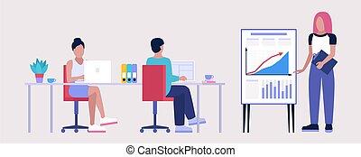 atelier, education, réunion bureau, personnel, illustration