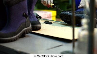 atelier, neatly, ouvrier, bottes, poignées, production