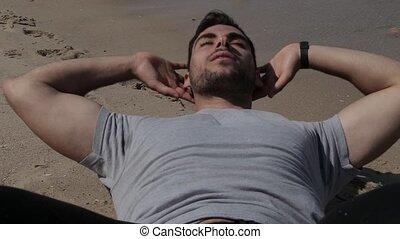 athlète, augmente, sable, asseoir