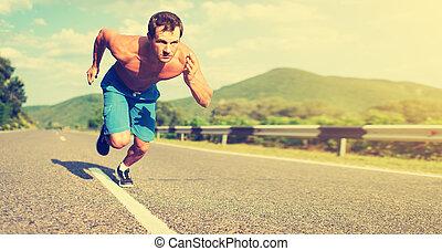 athlète, coucher soleil, équipez course, nature