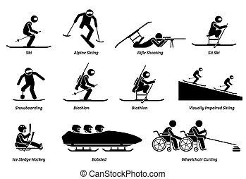 athlète, hiver, icons., sports, handicapé, crosse, handicapé, figures, jeux
