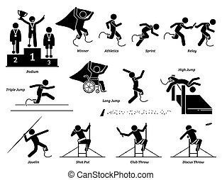 athlète, icons., sports, handicapé, piste, crosse, champ, handicapé, figures, jeux