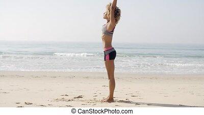 athlète, plage, exercice, femme