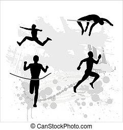 athlète, silhouette, lumière
