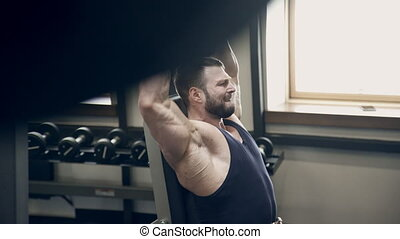 athlète, une, gym., poids, marques, exercice