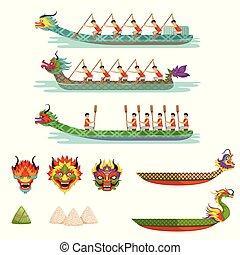 athlètes, bateau, vecteur, concourir, mâle, ensemble, bateaux, dragon, illustrations, équipe, festival