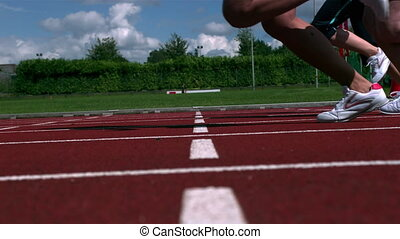 athlètes, courant, course