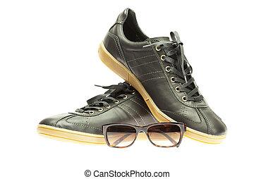 athlétique, blanc, noir, chaussures, isolé