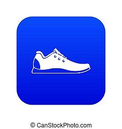 athlétique, bleu, icône, chaussure, numérique
