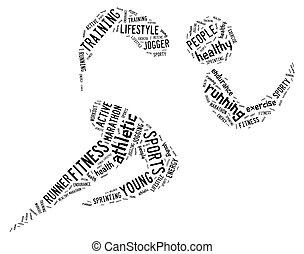 athlétique, courant, fond blanc, pictogramme