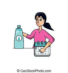 athlétique, eau, calendrier, femme, bouteille