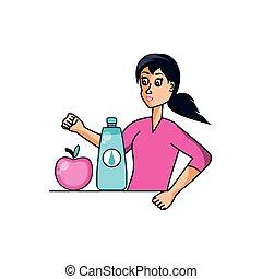 athlétique, eau, femme, pomme, bouteille