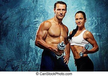 athlétique, femme, dumbells., homme
