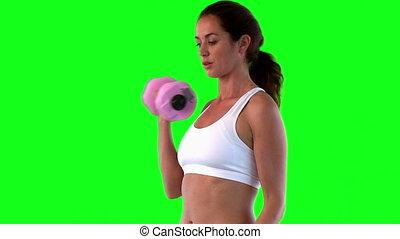 athlétique, femme, exercisme, dum