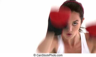 athlétique, femme, hispanique, boxe