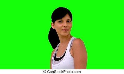 athlétique, femme, lancer, cheveux, elle
