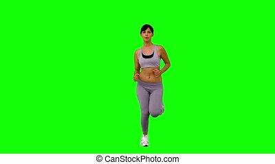 athlétique, femme, vert, écran, jogging