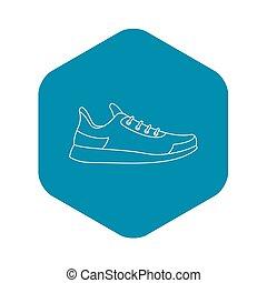 athlétique, icône, style, chaussure, contour