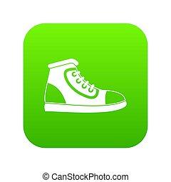 athlétique, icône, vert, chaussure, numérique