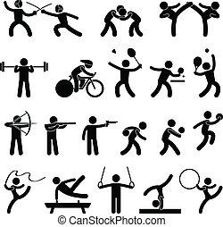 athlétique, jeu, intérieur, sport, icône